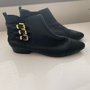 Vince Camuto Leather Ankle Boots Black